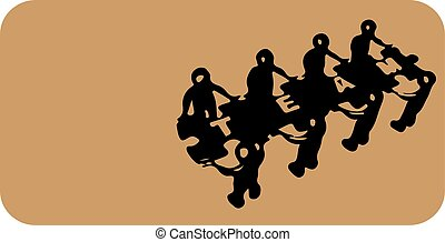 El icono del trabajo en equipo sobre fondo blanco