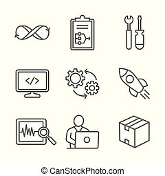 El icono Devops se ajusta a un plan, construye, codigo, prueba, libera, monitorea, opera y paquete