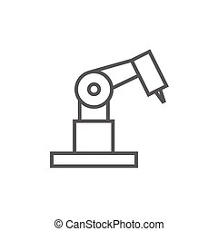 El icono mecánico industrial de la línea de brazos robot.