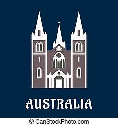El icono plano de la catedral de Australia