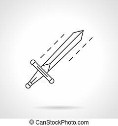 El icono vector de la línea de espada plana