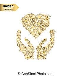 El icono vectorial dorado de corazón en mano aislado en el fondo. Ilustración artística para la telaraña, confeti brillante, lentejuelas brillantes, tintineo, logo, polvo brillante, papel de aluminio.
