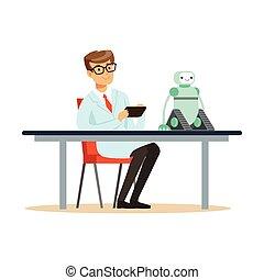 El ingeniero científico prueba el prototipo del robot