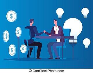 El intercambio de ideas por dinero, el hombre de negocios compra ideas concepto vectorial