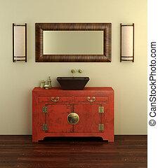 El interior del baño de estilo chino