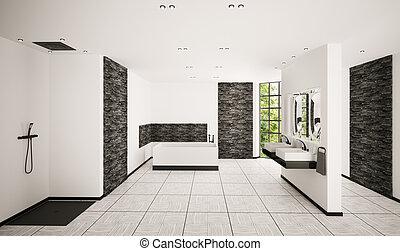 El interior del baño moderno