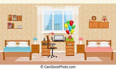 El interior del dormitorio infantil con dos camas, globos de vacaciones, juguetes, mesa con ordenador y ventana.