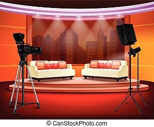 El interior del estudio de televisión