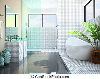 El interior moderno del baño blanco 3D