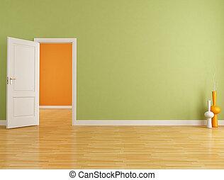 El interior rojo y naranja vacío