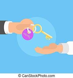 El invitado recibe la llave de la habitación del hotel en la recepción
