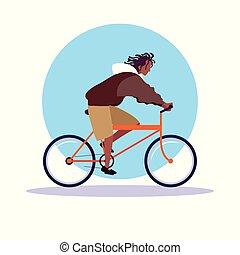 El joven afro montando en bicicleta personaje avatar