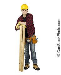 El joven ayudante con tabla de madera