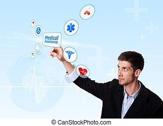 El joven doctor presionó el botón de asistencia médica