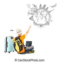 El joven está feliz de señalar su plan de viaje global