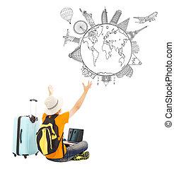 El joven está feliz de ver su plan de viaje global