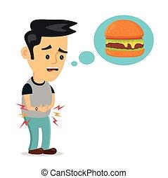 El joven que sufre tiene hambre piensa en comida