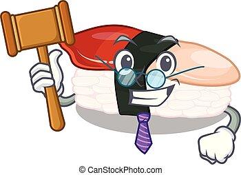 El juez Hokkigai sushi está servido en la mesa de dibujos animados