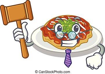 El juez Okonomiyaki está servido en la placa de dibujos