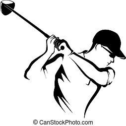 El jugador de golf va de cerca