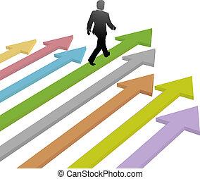 El líder de negocios camina hacia el futuro de la flecha