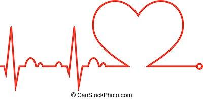 El latido del corazón. Cardiograma. Ciclo cardíaco. icono médico.