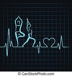El latido hace un corazón de chica yoga