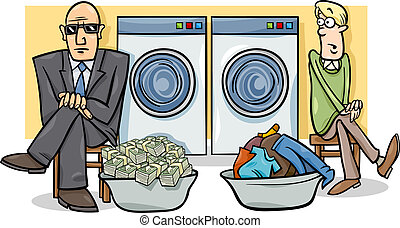 el lavar planchar del dinero, ilustración, caricatura