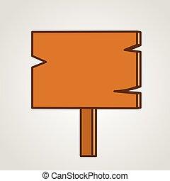 El letrero de madera marrón. Estilo simple.