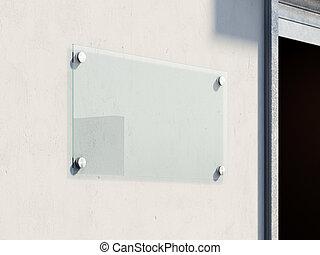 El letrero de vidrio vacío en la pared. 3D