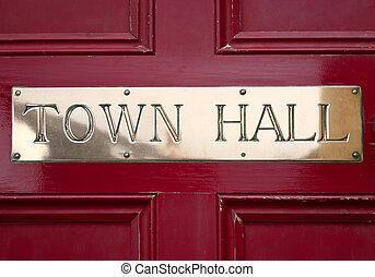 El letrero del ayuntamiento de Brass en A