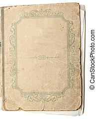 El libro antiguo se aisló sobre el fondo blanco