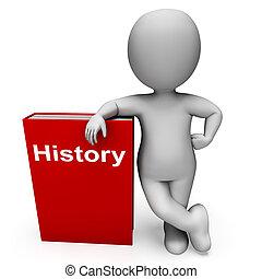 El libro de historia y el personaje muestran libros sobre el pasado