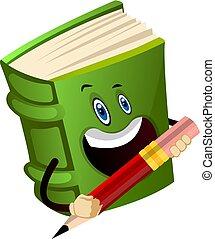 El libro verde tiene un lápiz, ilustración, vector de fondo blanco.