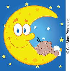 El lindo niño duerme en la luna