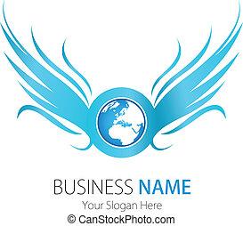El logo de la compañía diseña alas terrestres