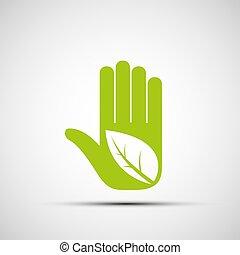 El logo de la mano humana con una hoja.