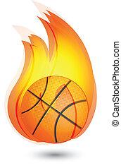 El logo de las llamas Basketball