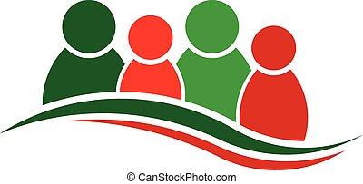 El logo de Navidad. Grupo de cuatro personas