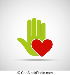 El logo de una mano humana sosteniendo un corazón rojo.