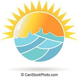 El logo del círculo del sol y el mar. Ilustración de diseño gráfico Vector