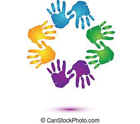 El logo del equipo de manos