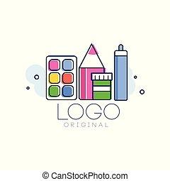 El logo original, la plantilla de concepto creativo, el elemento de diseño de la infancia vector de la ilustración aislada en un fondo blanco