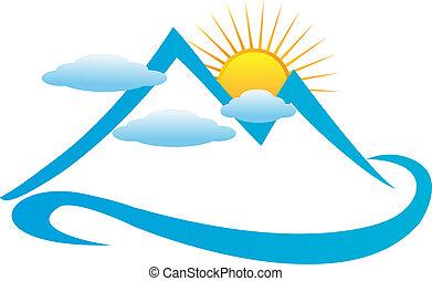 El logotipo azul de las montañas