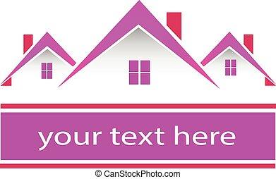 El logotipo de casas rosas