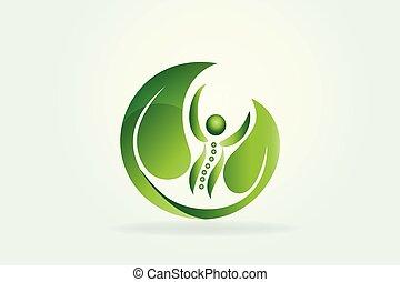 El logotipo de cuidado de la naturaleza sana