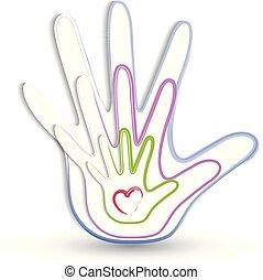 El logotipo de icono de manos familiares