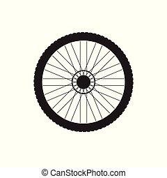 El logotipo de icono negro vector de rueda de bicicleta en fondo blanco
