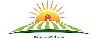 El logotipo de la agricultura solar