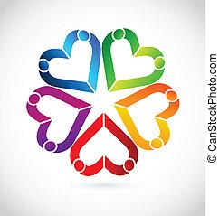 El logotipo de la gente del trabajo en equipo